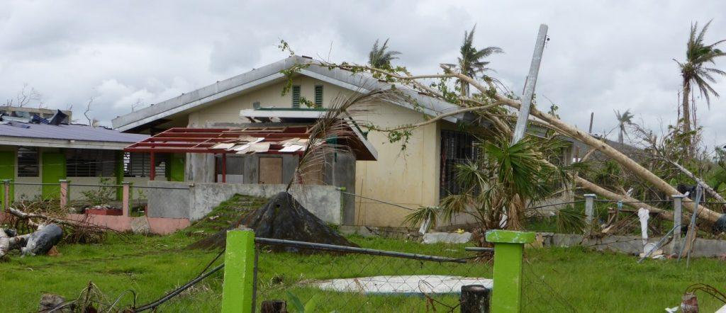 Building damaged by Yoranda